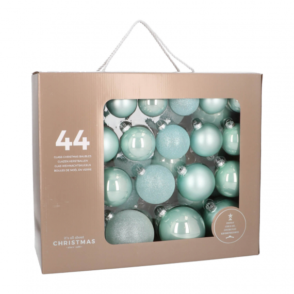 44 glazen kerstballen pastelblauw in koffer 6-10cm