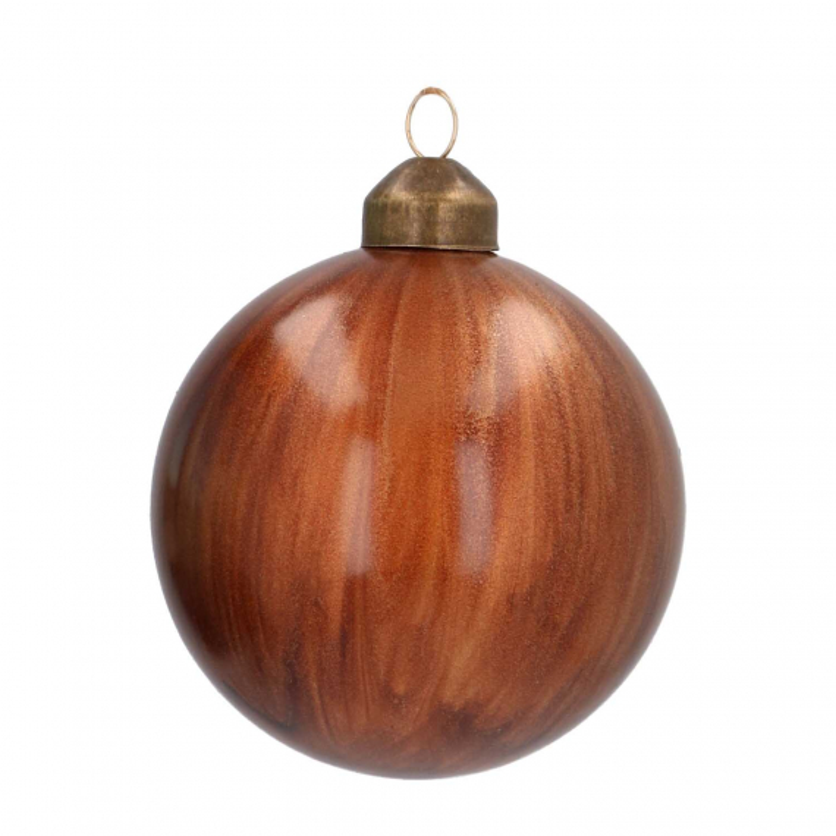 Luxe glazen kerstbal brushed 8 cm bruin