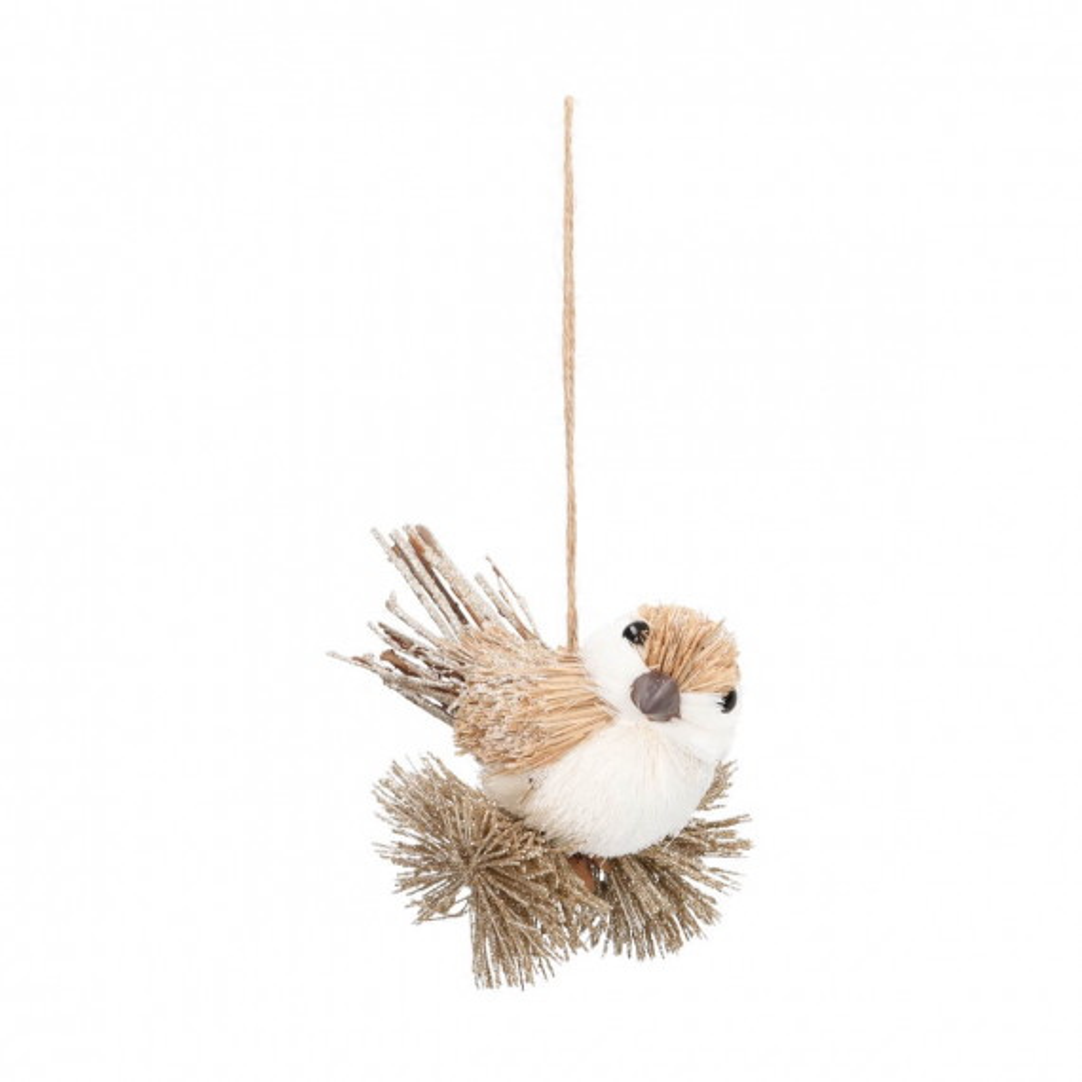 Vogel met hanger 12 cm lichtbruin glitter