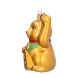 Luxe kersthanger Maneki Neko - zwaaiende kat 11 cm