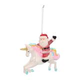 Luxe kersthanger eenhoorn met kerstman 12cm