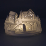 Kerstscene porselein 14 cm wit LED