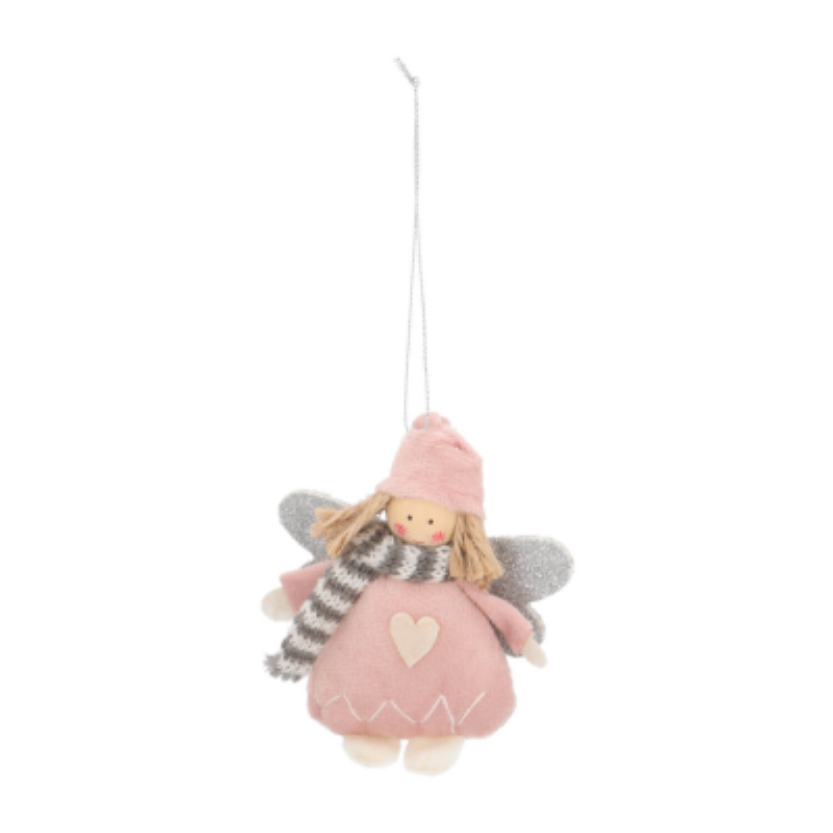 Kersthanger engel 12cm roze