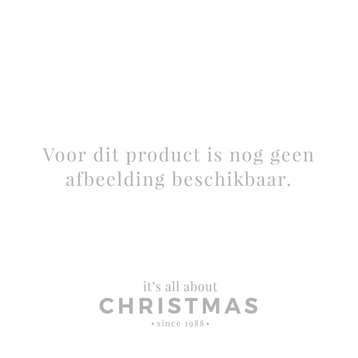 Bijzondere glazen kerstbal ijsblauw met sneeuwbaleffect 8cm