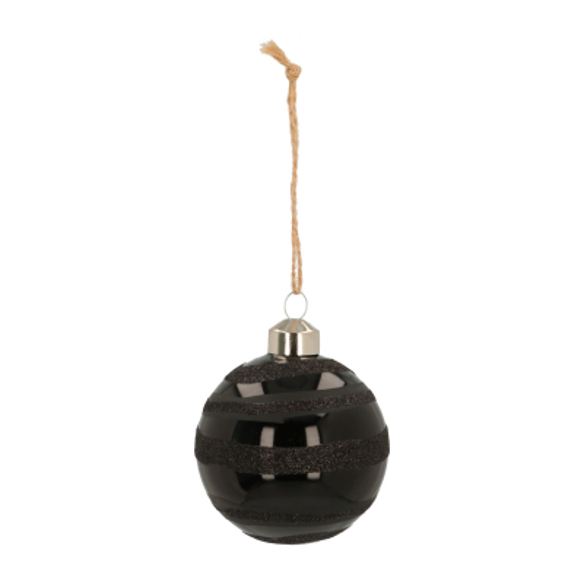 Luxe glazen kerstbal glanzend zwart matte en glitter strepen 7cm