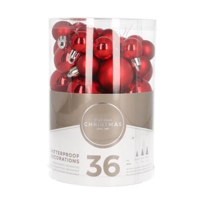 36 kleine kunststof kerstballen rood in koker