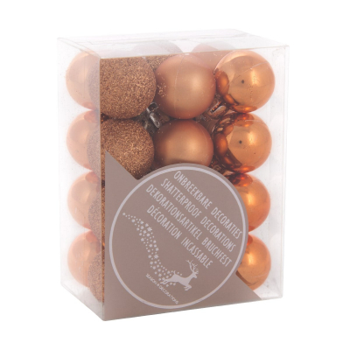 Kunststof kerstballen 2,5cm koper 24 stuks
