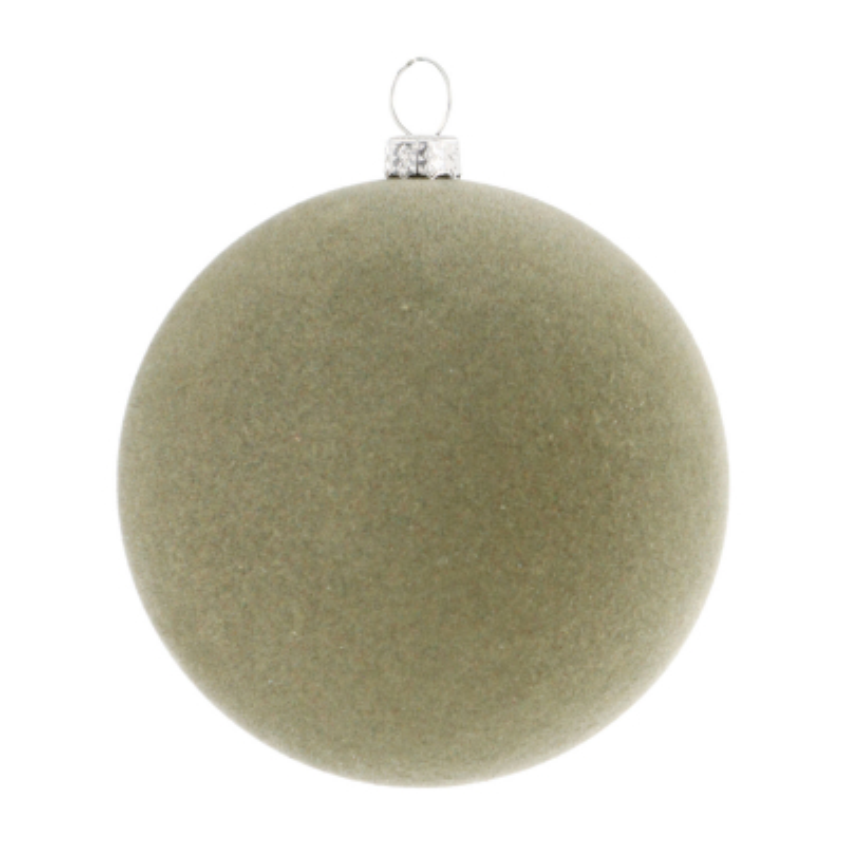 Fluwelen kerstbal cottage green 8 cm kunststof