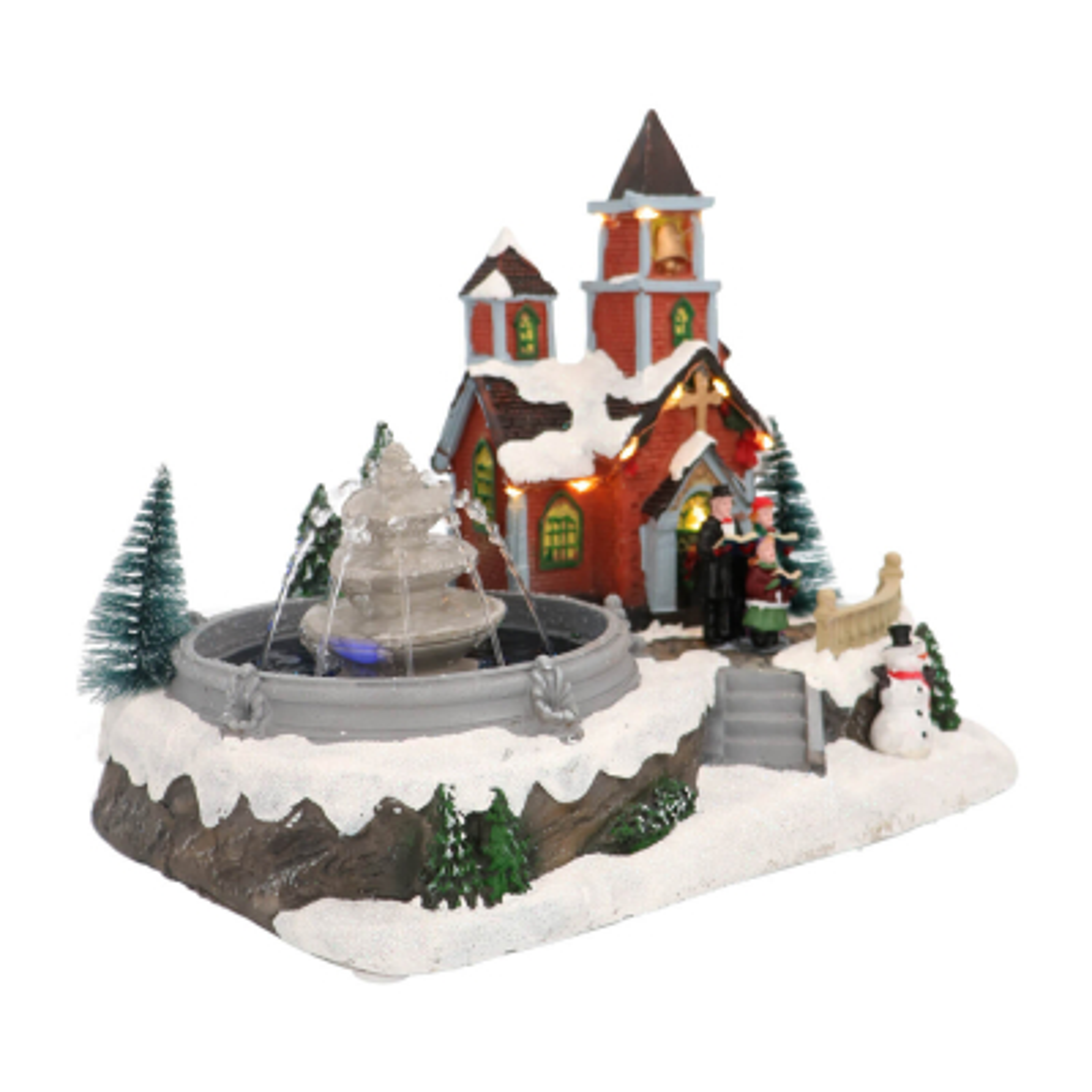 Kersthuisje kerk met fontein, LED & muziek 30cm