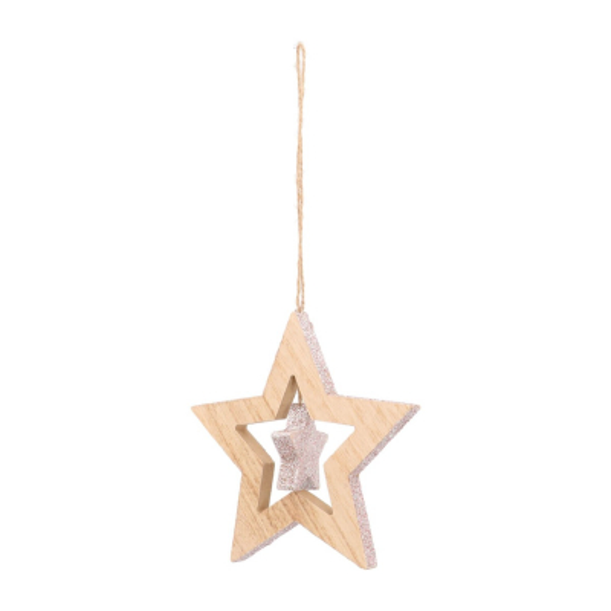 Houten ster met kleine ster 12 cm zachtroze