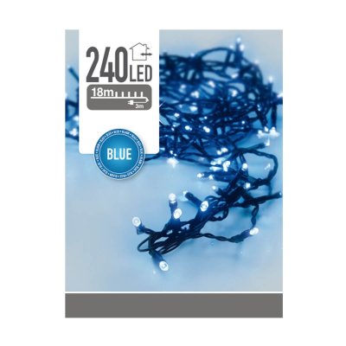 Snoerverlichting voor buiten 240 LED blauw