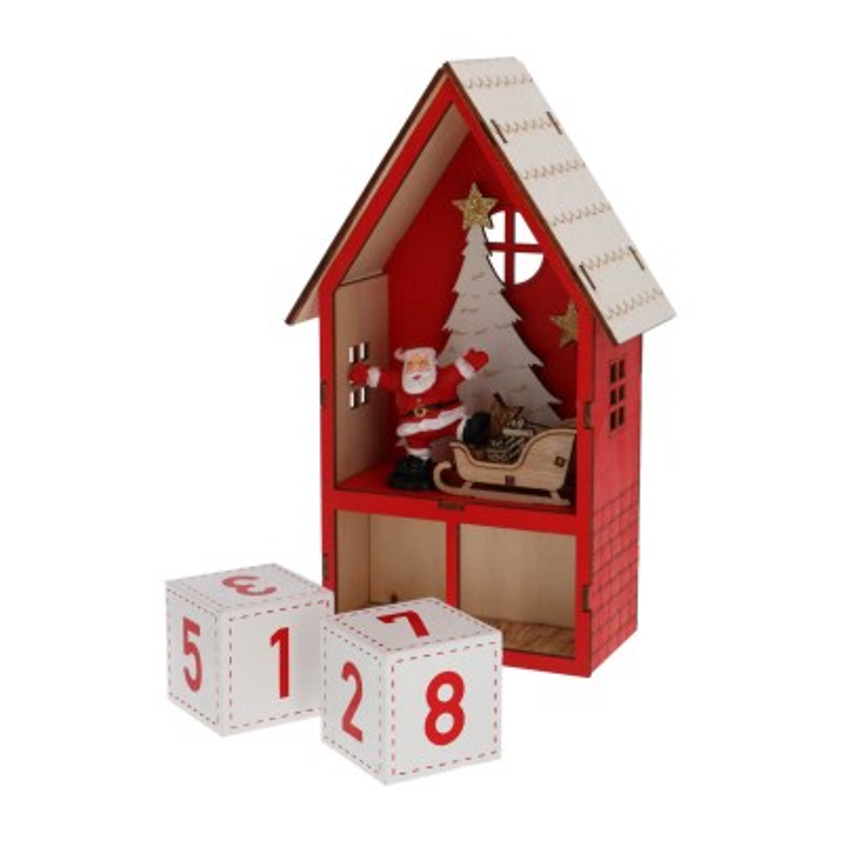 Advent kalender huis hout rood met LED