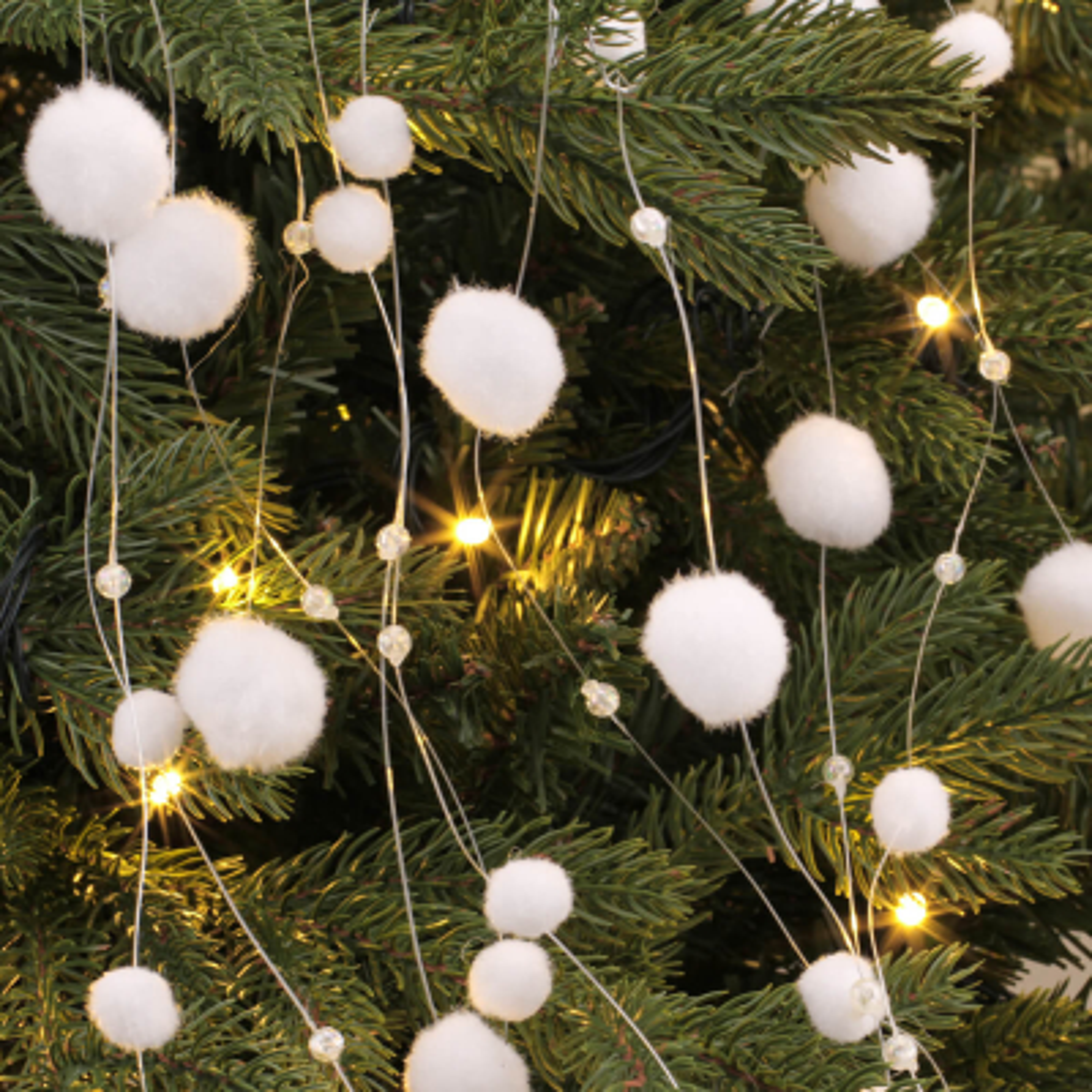 Sneeuwbal guirlande 120cm wit grote en kleine sneeuwballen