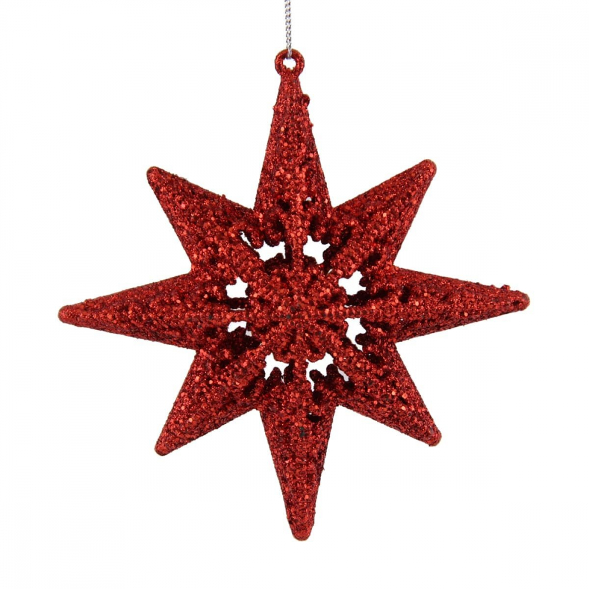 Luxe kerstster 14cm kerstrood glitter