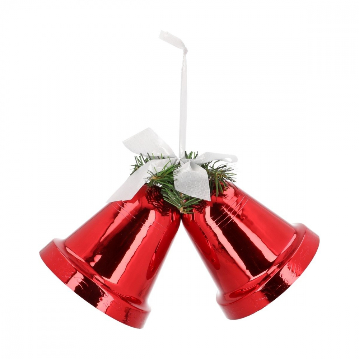 Plastic kerstklokken - 15 cm - Rood - 2 stuks
