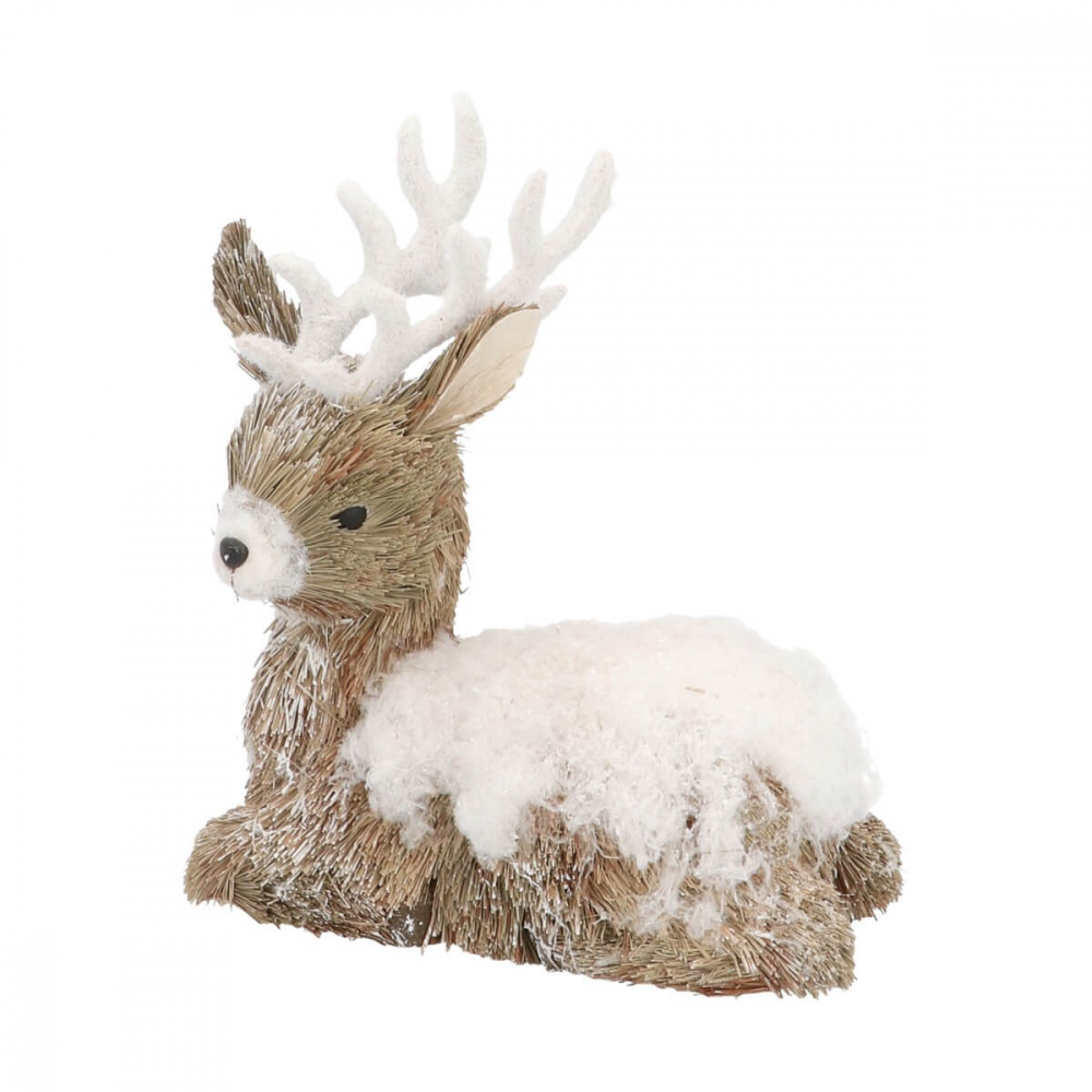 Rendier met sneeuw 24cm bruin wit